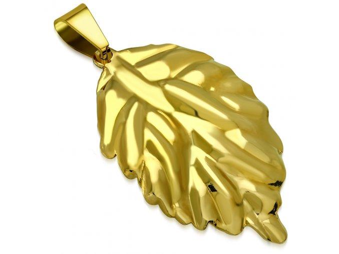 Prívesok na retiazku, list zlatej farby z ocele, gravírovanie (1)