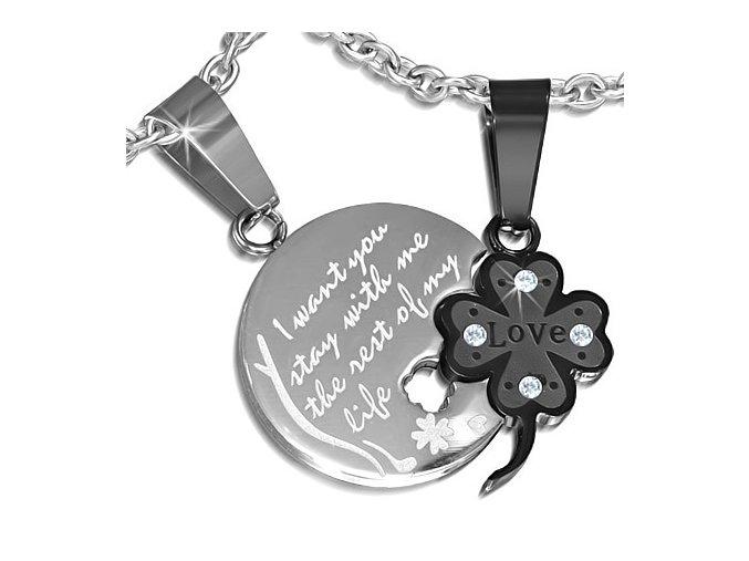 Prívesok pre dvoch z ocele, štvorlístok a okrúhla známka, nápis (1)