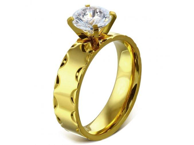 Zásnubný prsteň so zirkónom, oceľ, zlatá farba a gravírovanie - Solitér