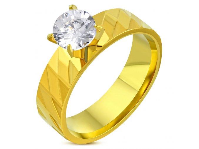 Zásnubný prsteň so zirkónom a gravírovaním, oceľ zlatej farby Solitér (1)