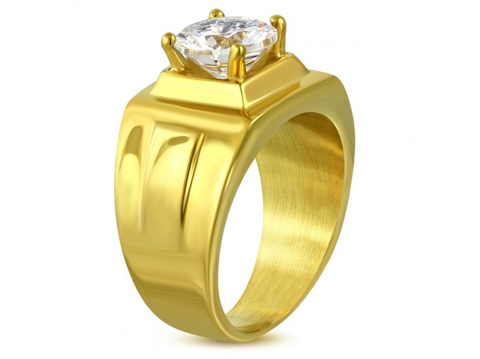 Pečatný prsteň z chirurgickej ocele so zirkónom, zlatá farba (1)