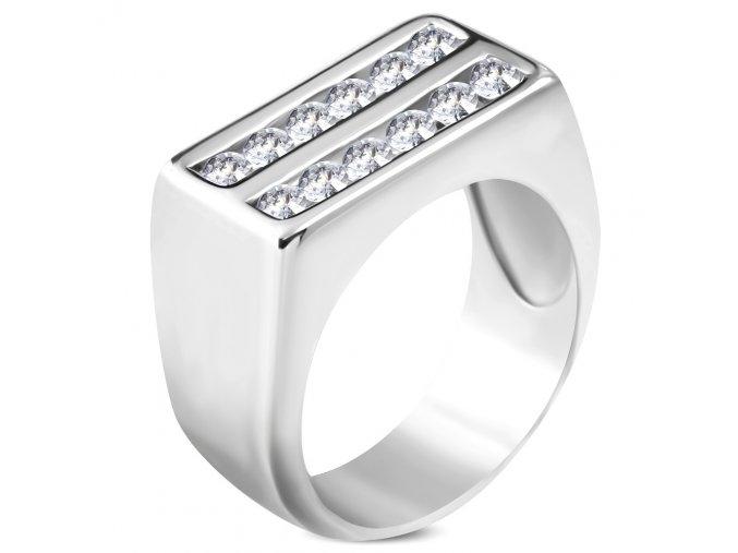 Masívny prsteň z ocele s čírymi zirkónmi, lesklá strieborná farba
