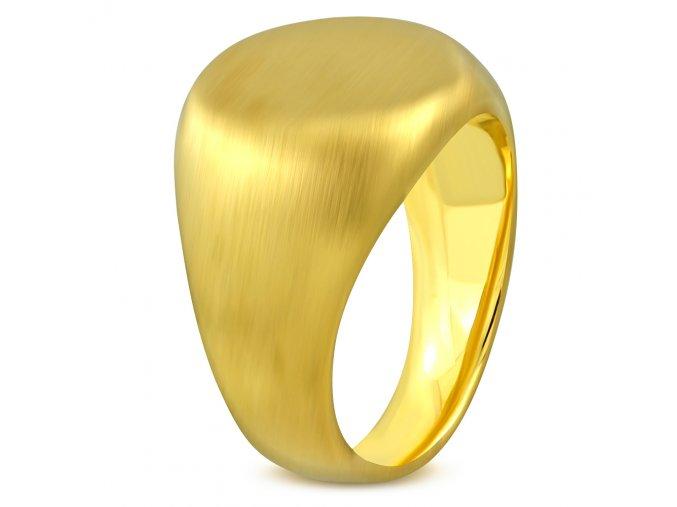 Pečatný oválny prsteň, chirurgická oceľ zamatovej zlatej farby