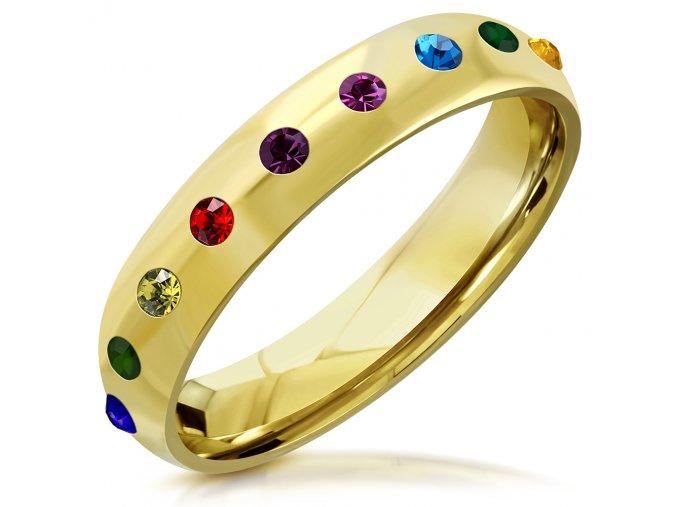 Prsteň z chirurgickej ocele zlatej farby, farebné dúhové zirkóny