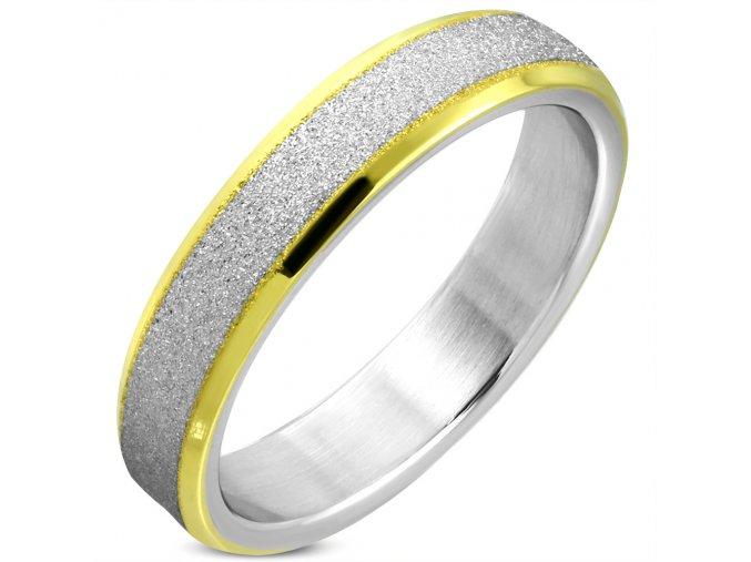 Pieskovaný prsteň z chirurgickej ocele, zlatá a strieborná farba 5 mm