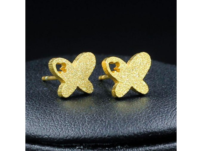 Náušnice motýle z chirurgickej ocele, zlatá farba