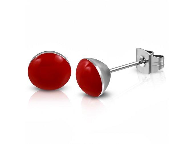 Náušnice z chirurgickej ocele s červenou glazúrou 4 mm