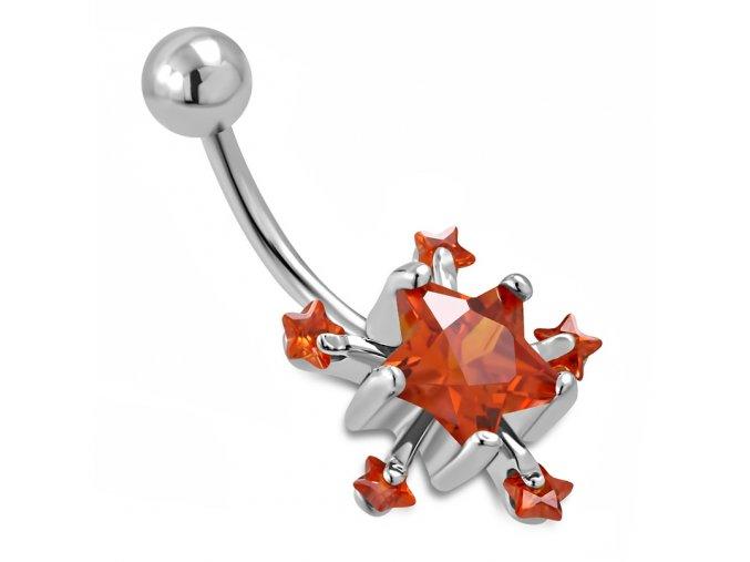 Piercing do brucha z ocele, svetločervené zirkónové hviezdy (1)