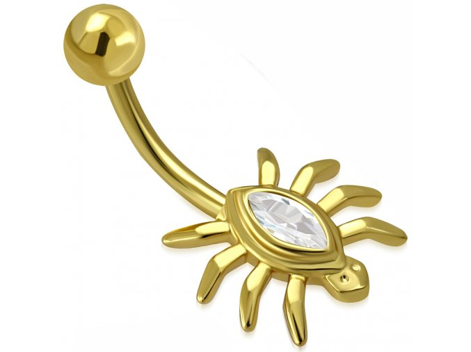Piercing do brucha z ocele zlatej farby, pavúk s čírym zirkónom (1)