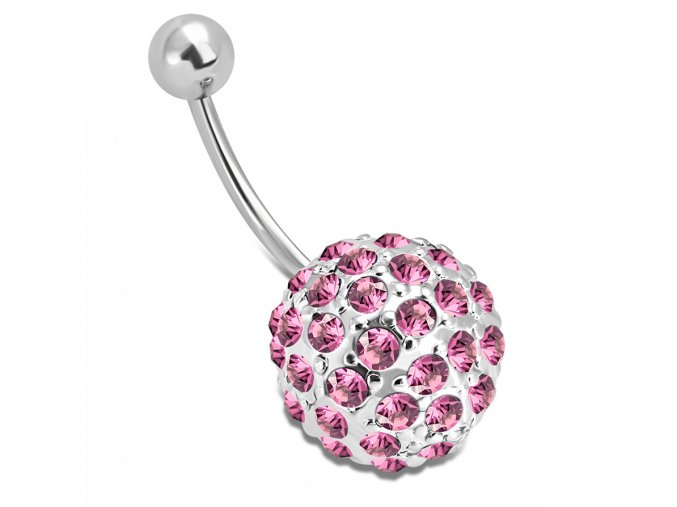 Piercing do brucha z ocele striebornej farby, zikrónová ružová gulička (1)
