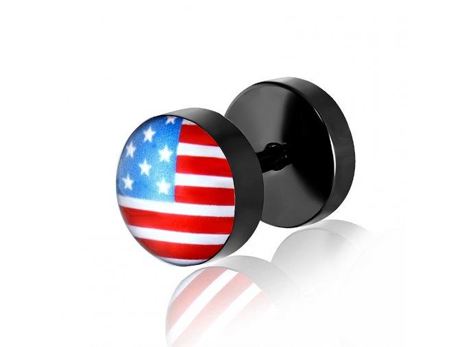 Fake plug z chirurgickej ocele, čierna farba, americká vlajka
