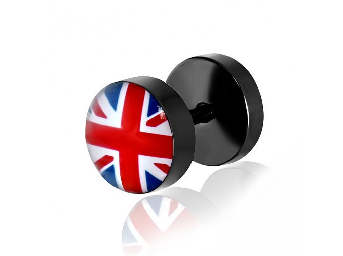 Fake plug z chirurgickej ocele, čierna farba, britská vlajka