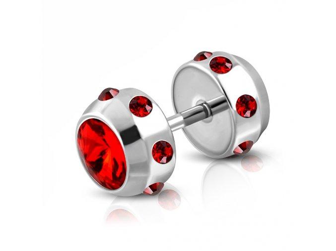Falošný piercing z ocele striebornej farby, červené zirkóny