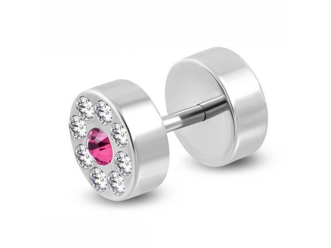 Falošný piercing z ocele striebornej farby, ružové a číre zirkóny (1)