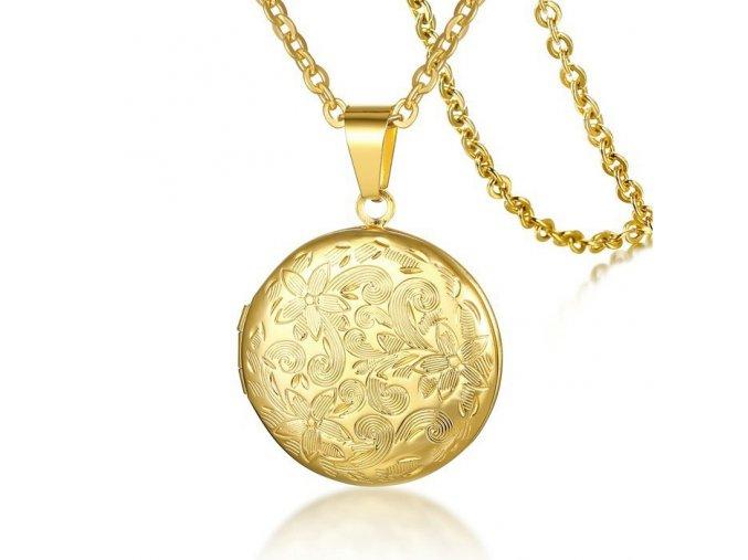 Medailón 3D na fotky z chirurgickej ocele, zlatá farba a kvety