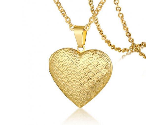 Medailón 3D srdce na fotky z chirurgickej ocele, zlatá farba a gravírovanie