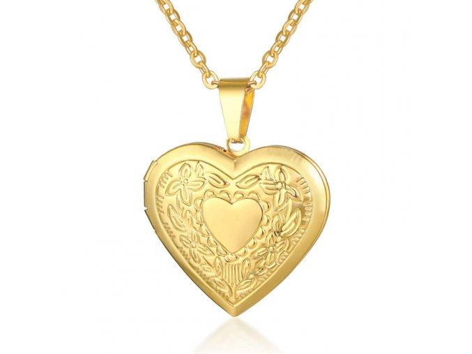 Medailón 3D srdce na fotky z chirurgickej ocele, zlatá farba, srdce a gravírovanie (1)