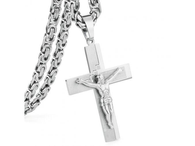Retiazka s krížom pre muža z chirurgickej ocele, strieborná farba, Ježiš a modlitba (1)