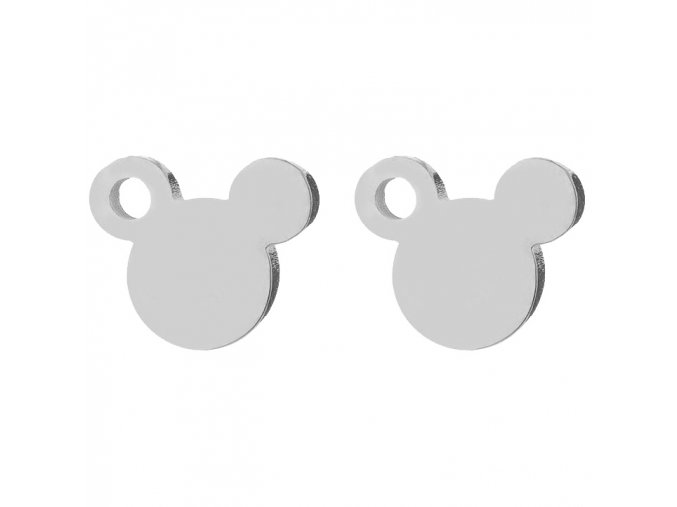 Puzetové náušnice z chirurgickej ocele, Mickey Mouse striebornej farby, dierka