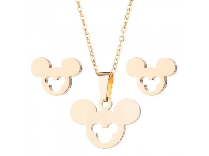Sada prívesok s retiazkou a náušnice z ocele, Mickey Mouse zlatej farby, výrez