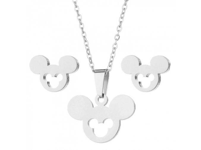Sada prívesok s retiazkou a náušnice z ocele, Mickey Mouse striebornej farby, výrez