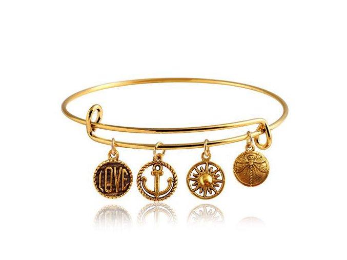 Multi náramok na ruku s príveskami, zlatá farba, bižutéria