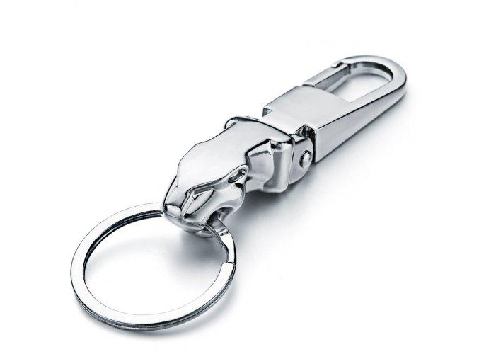 Pánska kľúčenka striebornej lesklej farby, kovová rukoväť a jaguár (1)