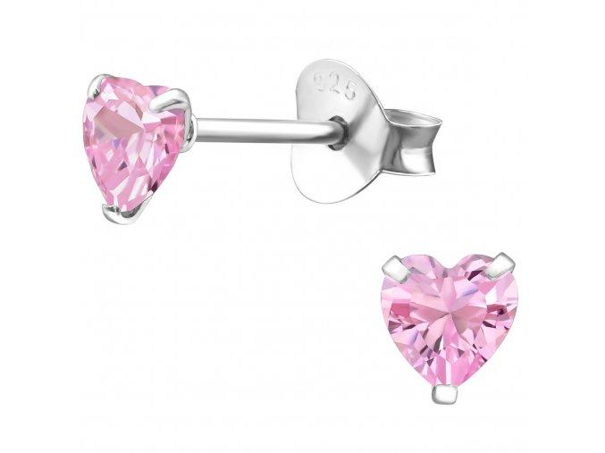 Dámske strieborné náušnice 925, ružové zirkónové srdcia 4 mm