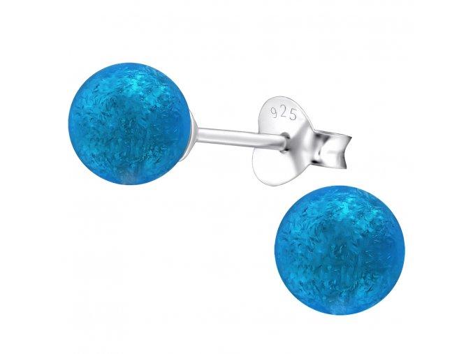Strieborné náušnice 925 pre ženu, trblietavá modrá perlička 6 mm