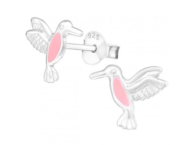 Detské strieborné náušnice 925, ružový kolibrík