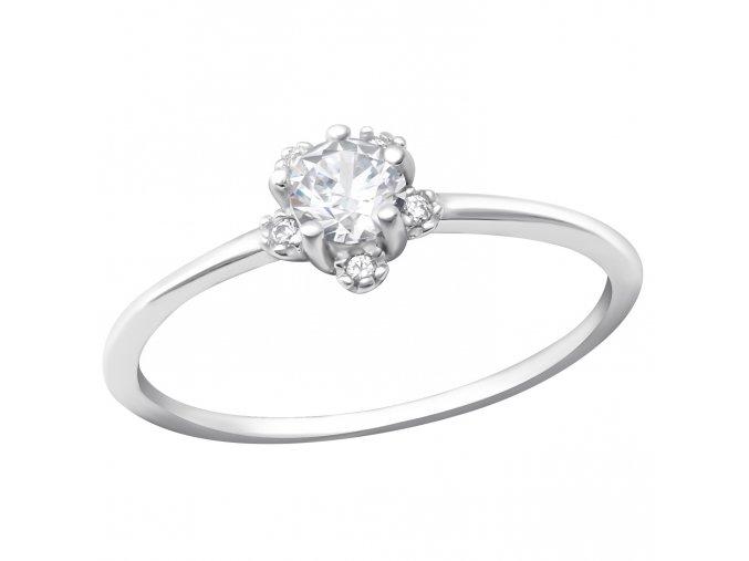Strieborný zásnubný prsteň 925, malý kvietok z čírych zirkónov