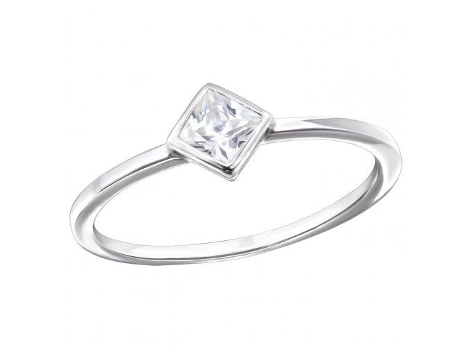 Strieborný zásnubný prsteň 925, štvorec si zirkónom