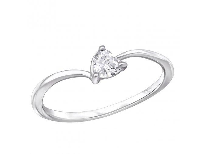 Strieborný zásnubný prsteň 925, drobné číre zirkónové srdce