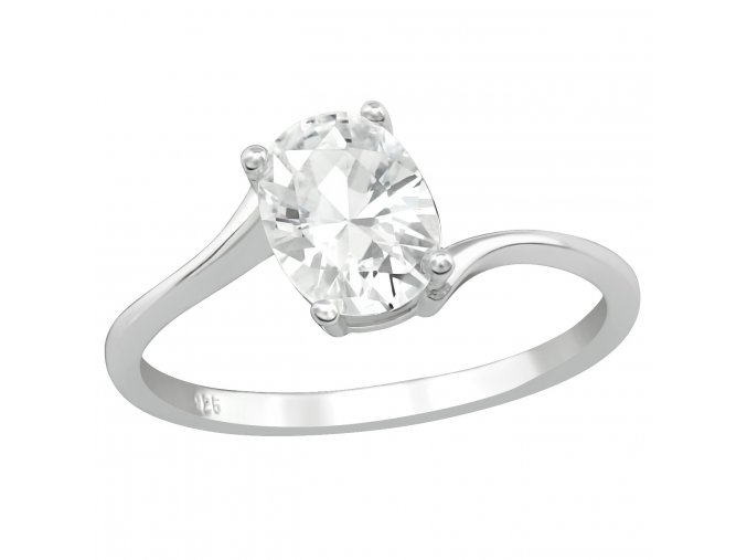 Strieborný zásnubný prsteň 925, väčší oválny číry zirkón