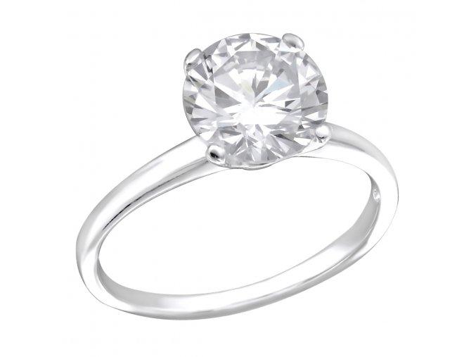 Strieborný zásnubný prsteň 925, číry zirkón, väčší okrúhly číry zirkón Solitér