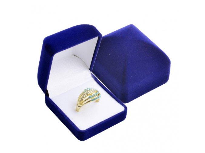 Zamatová obdĺžniková krabička na prsteň, kráľovsky modrá farba