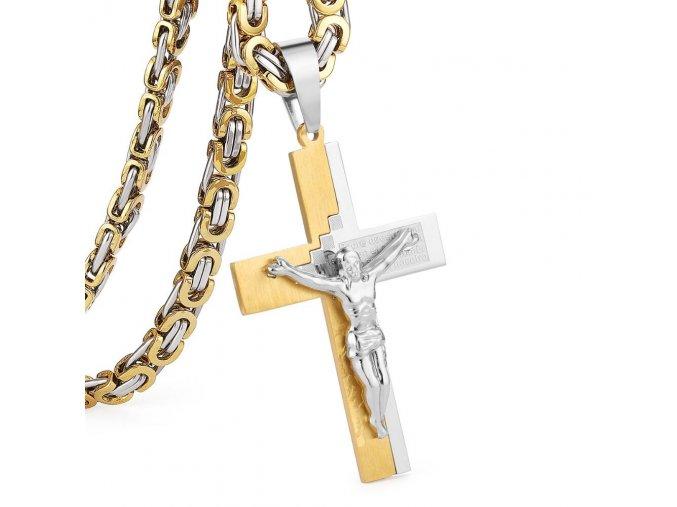 Retiazka s krížom pre muža z ocele, strieborná a zlatá farba, Ježiš a modlitba (1)