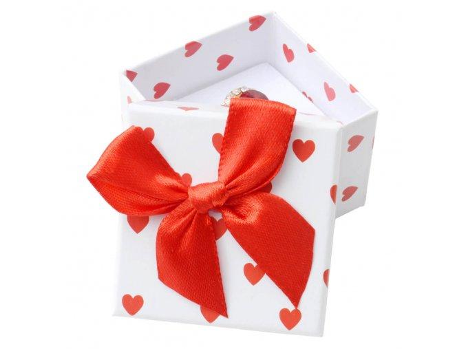 Darčekové balenie na náušnice, červené srdiečka a mašľa