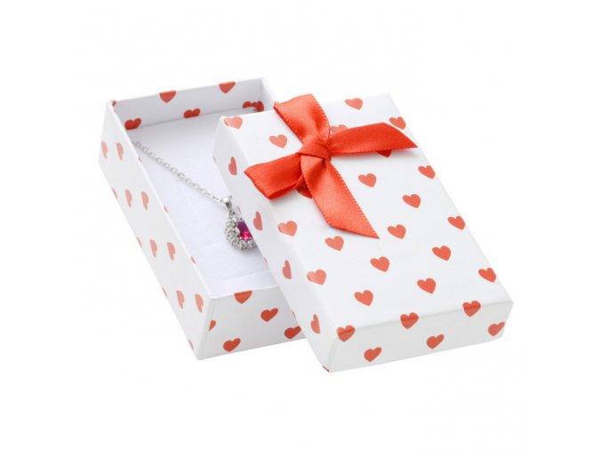 Darčeková krabička na sadu šperkov, červené srdiečka a mašľa