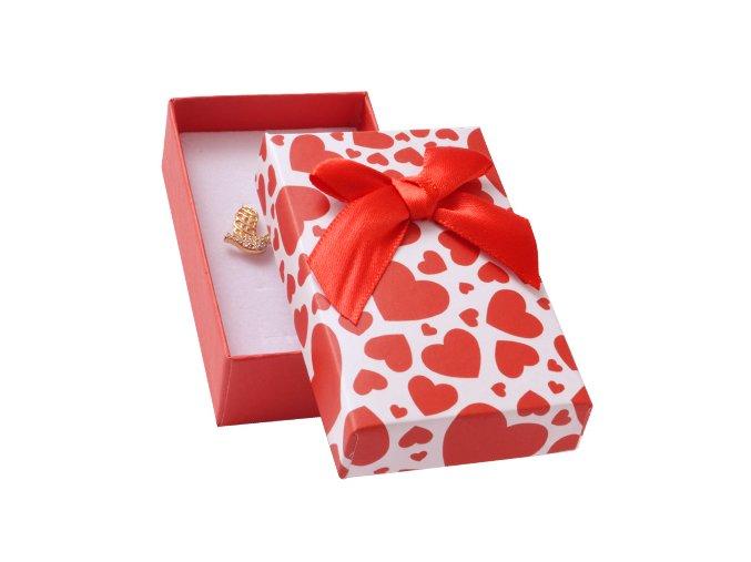 Darčekové balenie na sadu šperkov, červené srdca a mašľa