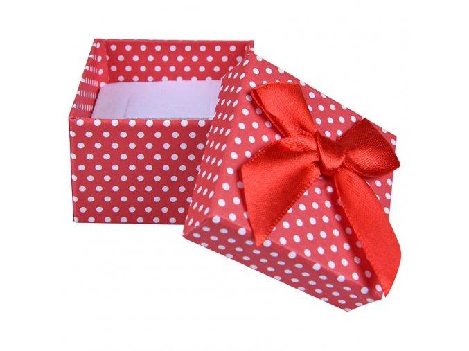 Darčeková krabička na náušnice, biele bodky a stužka