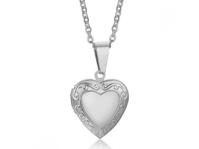 Malý medailón 3D srdce na fotky z ocele, strieborná farba, gravírovanie (1) – kópia