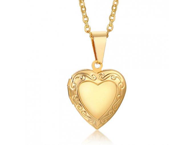 Malý medailón 3D srdce na fotky z ocele, zlatá farba, gravírovanie (1)