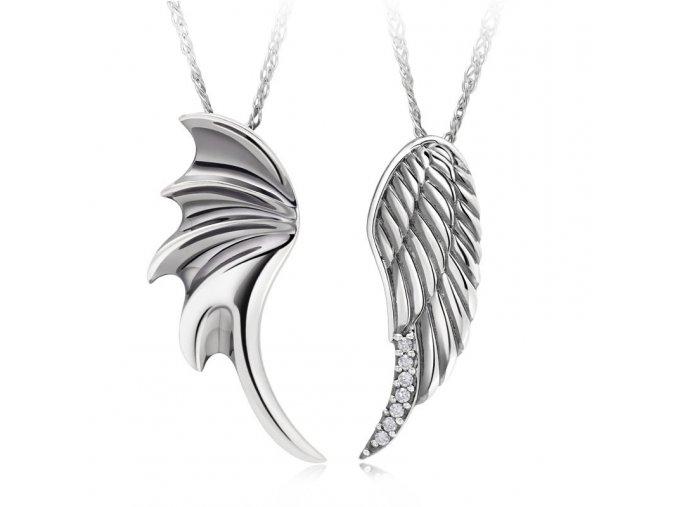 Prívesok pre dvoch, krídla z chirurgickej ocele