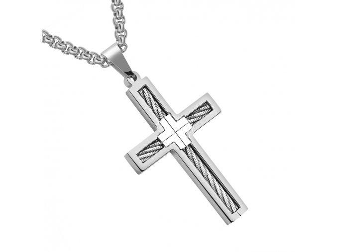 Retiazka s krížom z ocele, lanko a strieborná farba