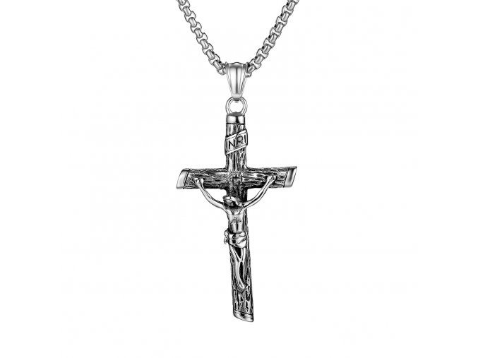 Retiazka s krížom, strieborná farba a patinovanie, Ježiš (1)