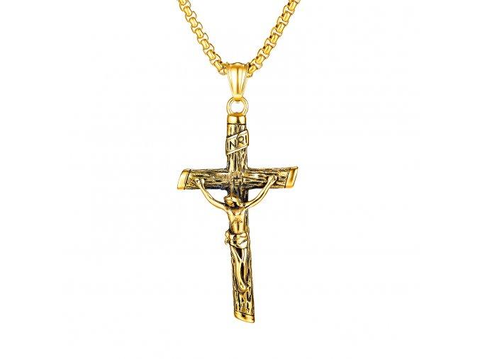 Retiazka s krížom, zlatá farba a patinovanie, Ježiš (1)