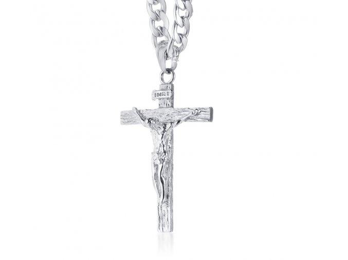 Retiazka s krížom, strieborná farba a Ježiš, chirurgická oceľ (1)