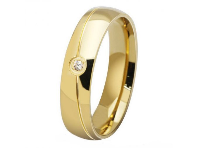 Prsteň so zirkónom, chirurgická oceľ zlatej farby