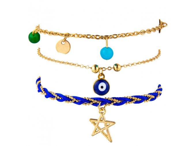 Trojitý náramok na nohu, farebné koráliky, retiazky, modrý vrkoč, prívesky, bižutéria (1)